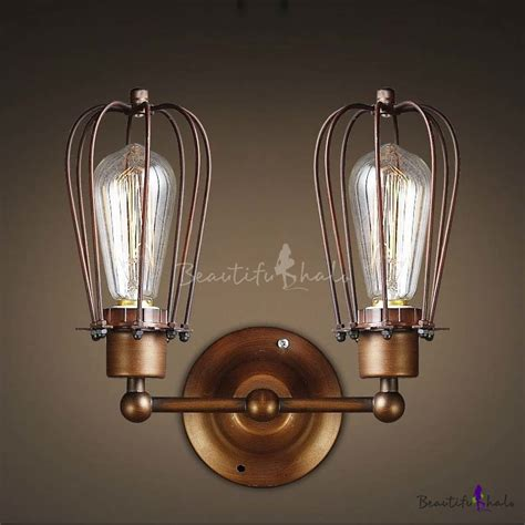 Indoor Hallway Lighting Wrought Iron 2 Light Indoor Hallway Wall Sconce In Copper