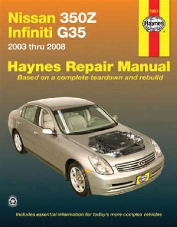 service manual how to change a 2008 infiniti fx dipped beam replacement 2008 infiniti fx35 nissan 350z infiniti g35 2003 2008 haynes owners service repair manual 1563927233
