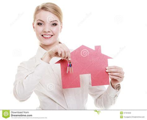 Businesswoman Real Estate Agent Paper House Keys Stock