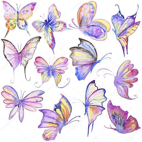 collezione di farfalle disegnate a mano foto stock
