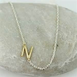 handmade gold initial n necklace letter necklace