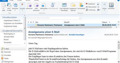 layout einer e mail pceinsteiger anzeigename einer e mail