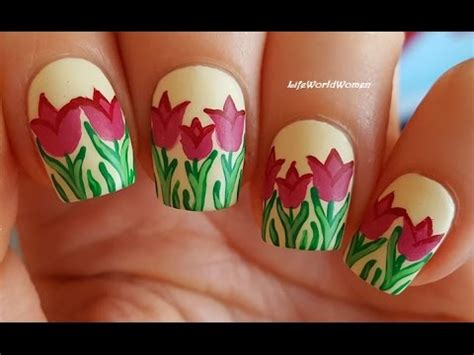 tulip flower nail art youtube matte nails 3 tulip nail art using acrylic paint youtube