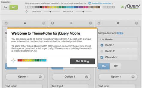 theme generator jquery mobile app design dev custom themes with jquery mobile