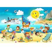 海滩游玩的卡通图片分享 琪琪卡通