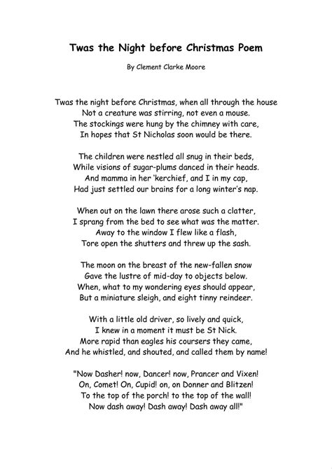printable version of night before christmas twas the night before christmas words madinbelgrade