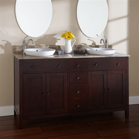 Cherry Bathroom Vanities 72 Quot Arrey Teak Vanity For Semi Recessed Sinks Bathroom
