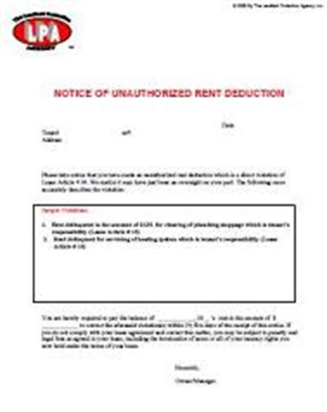 Lease Notice For Unauthorized Occupant Notice Of Unauthorized Rent Deduction