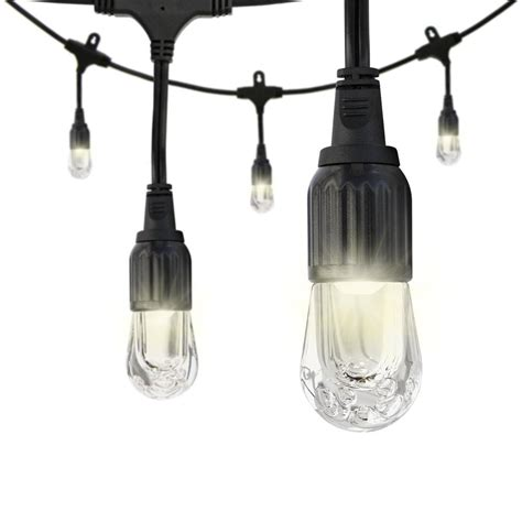 Patio Lights Home Depot Enbrighten 12 Bulb 24 Ft Black Integrated Led Cafe String Light 31662 The Home Depot