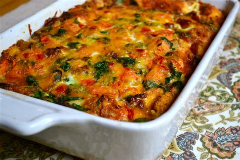 egg and sausage breakfast casserole with spinach and