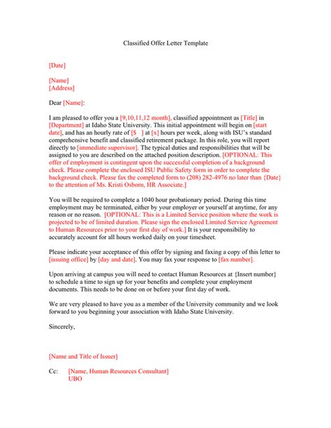 classified offer letter template word formats