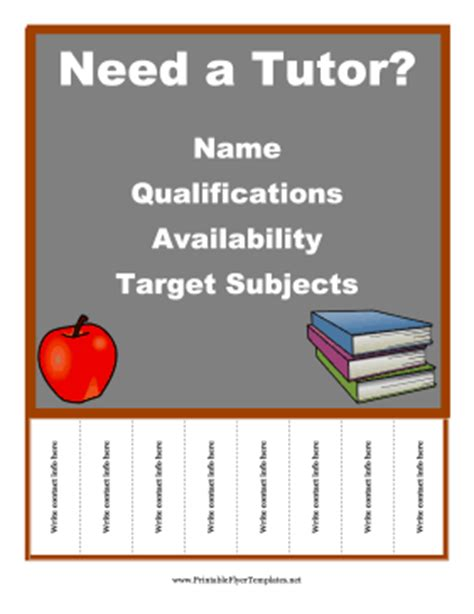 tutor flyer template free tutor flyer