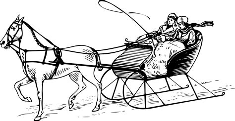 coloring page one open sleigh clipart sled