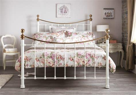 serene ethan ivory gloss  brass ft super king size metal bed frame  serene furnishings