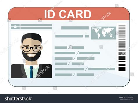 id card flat design id card flat design style stock vector 472736830