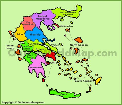 greece on map administrative map of greece