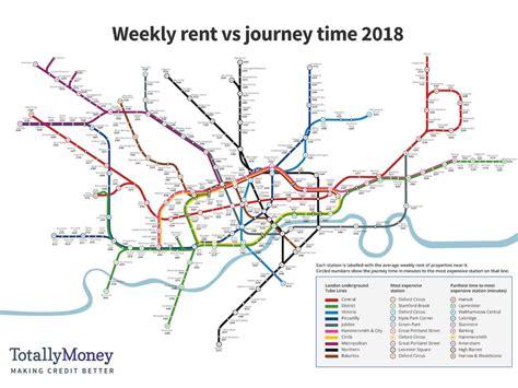 london underground map shows  average price  rent