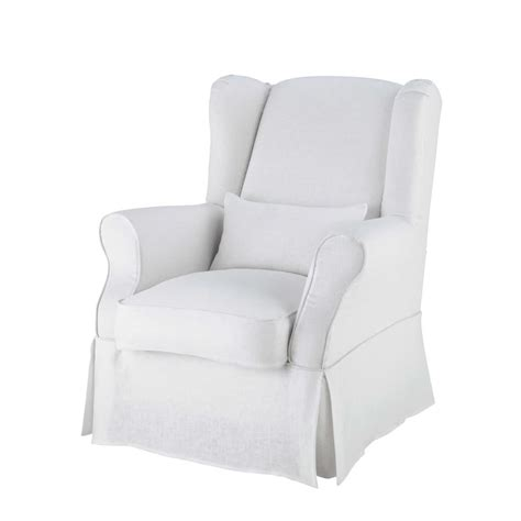 linen armchairs linen armchair cover in white cottage maisons du monde