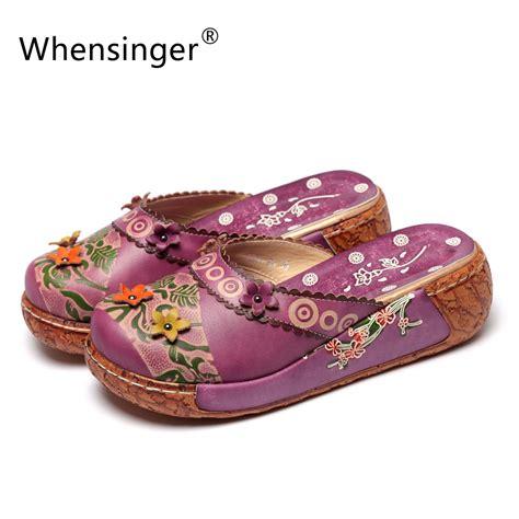 Leather Wedges Shoes 9 Cm 299 aliexpress buy whensinger 2017 s summer shoes 5cm heel leather sandals ethnic fringe