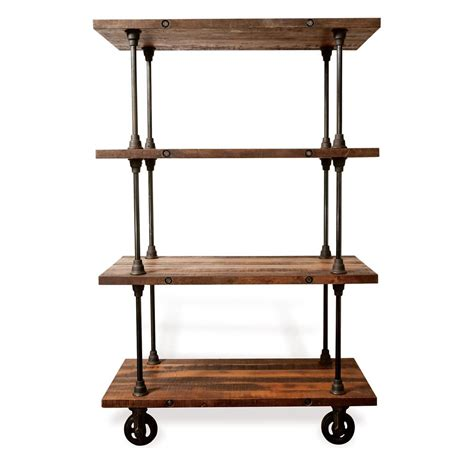 allenby industrial reclaimed wood 4 shelf rolling bookcase