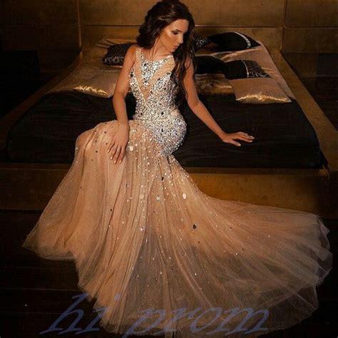 Longdress Mermaid mermaid prom dresses chagne prom gowns beading