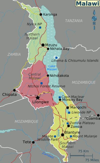 malawi map malawi wikitravel