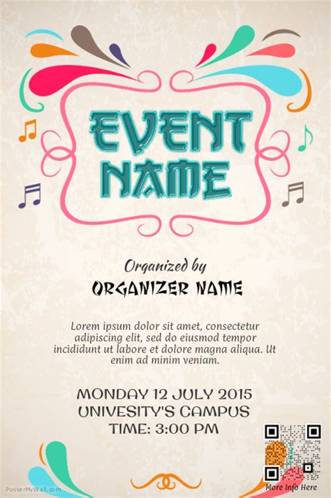 free event poster template colorful event promotion poster template postermywall