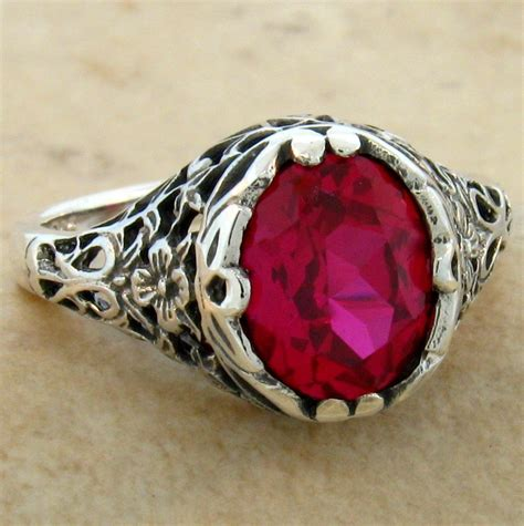 Ruby 2 62 Ct 2 5 ct lab ruby 925 sterling antique filigree design