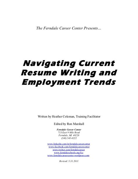 Resume Writing Trends Trends In Resume Writing 2010