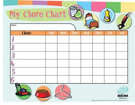Customizable Chore Chart Imom Picture Chore Chart Template