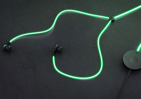 Glow Headphone glowing earbud cord pulses to your heartbeat geekologie