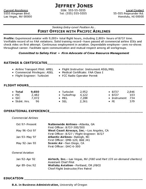 Aviation Resume Builder by Resume Exles Templates Free Sle Aviation Resume