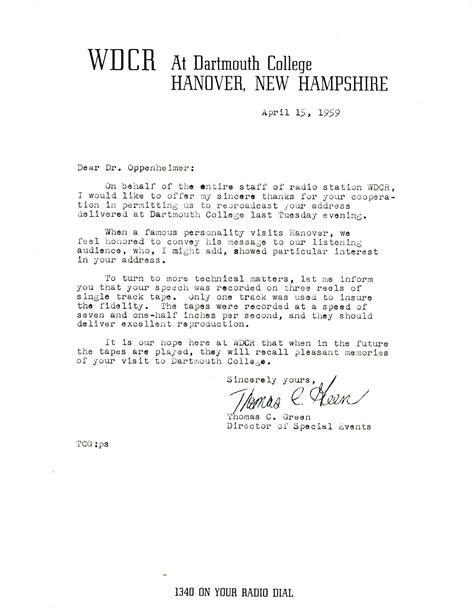 Closing Letter We Look Forward Letter From Green Wdcr At Dartmouth College To Robert Oppenheimer Princeton