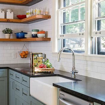 slate blue kitchen cabinets galvanized tub sink design ideas
