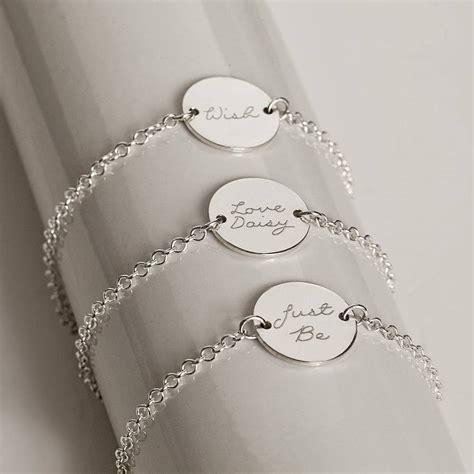 personalised engraved silver bracelet by the
