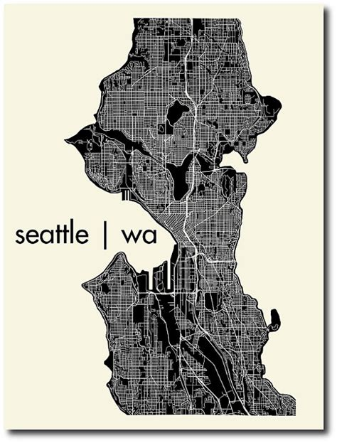 seattle map print affordable wall illustrated maps pillows and peonies