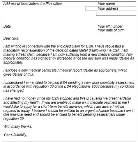 Credit Card Reconsideration Letter Ask Cpag What Can You Claim Pending A Mr Of An Esa Decision Child Poverty