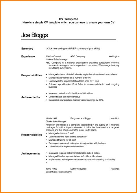 simple curriculum vitae template 7 simple cv template cna resumed