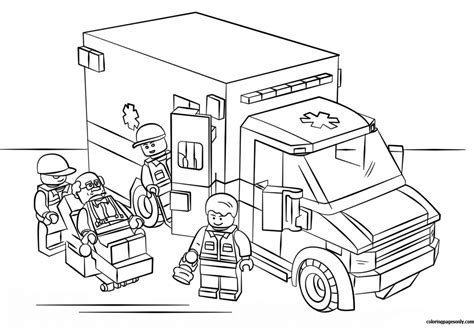 lego city coloring pages lego city ambulance coloring page free coloring pages