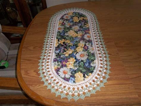 rose pattern joggers crocheted table runner fabric center crocheted edge