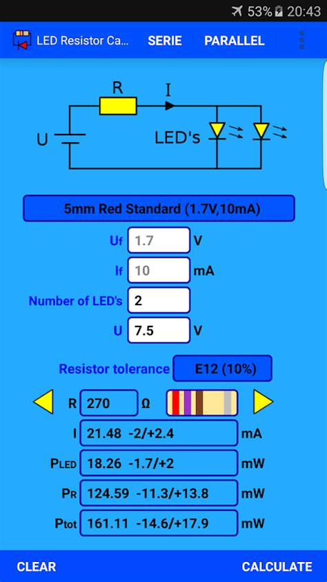 calculator resistor parallel led resistor calculator android apps on google play