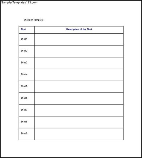 simple shot list template free sle templates