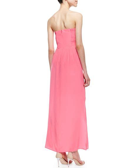 Kr36195rb Maxi Ribbon Pink Amanda Uprichard Mimosa Strapless Pleated Maxi Dress Pink