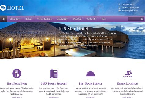 themes hotel wordpress 5 star wordpress theme for hotels wp solver