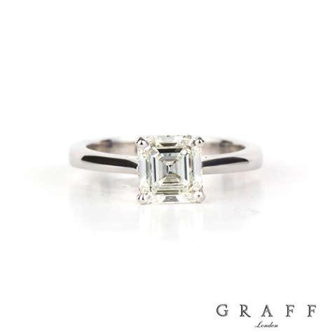 graff 18k white gold square emerald cut ring 1