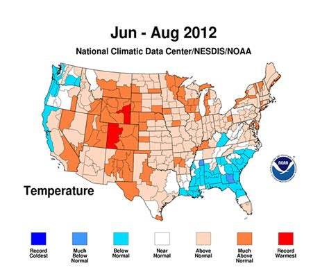 us weather map june for the u s summer 2012 was third in history