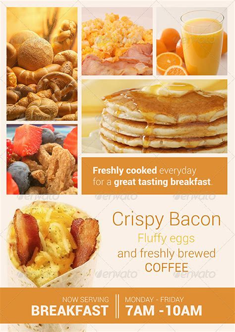20 Delicious Looking Restaurant Flyer Templates Breakfast Flyer Template