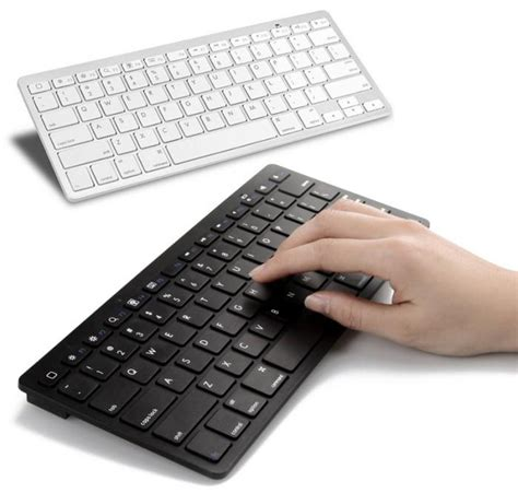 Keyboard Laptop Tanpa Kabel Ultra Slim Bluetooth Keyboard Ios Android Pc Black