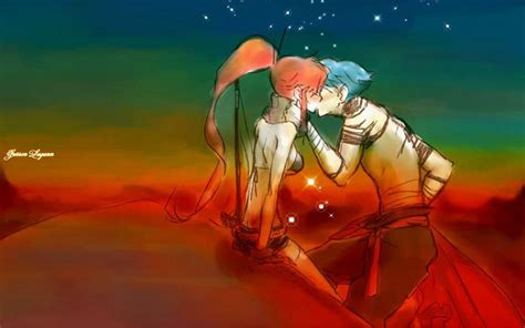 kiss anime gurren lagann kamina kissing tengen toppa gurren lagann couple littner