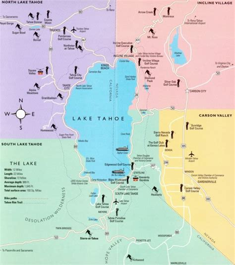 california map lake tahoe tahoe city shore and lake tahoe on